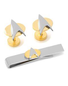 Star Trek Two Tone Delta Shield Cufflinks Tie Bar Gift Set