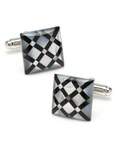 White Mother of Pearl Diamond Cufflinks