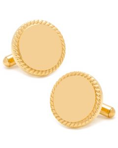 14K Gold Plated Rope Border Round Engravable Cufflinks