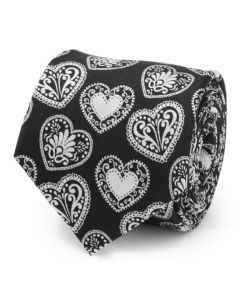 Black and White Paisley Heart Men's Tie