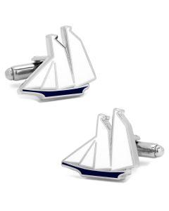 Blue and White Sailboat Cufflinks