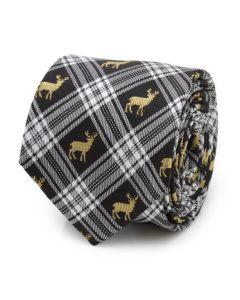 Black Plaid Stag Men's Tie