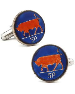Hand Painted Irish Bull Coin Cufflinks