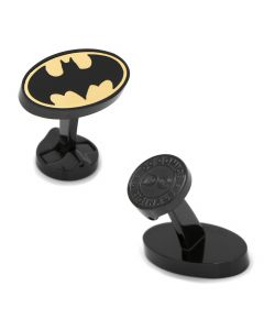 Stainless Steel Black and Gold Batman Cufflinks