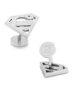White Pave Crystal Superman Cufflinks