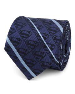 Superman Stripe Pattern Blue Silk Men's Tie