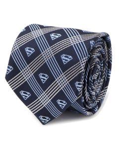 Superman Shield Navy Plaid Mens Tie