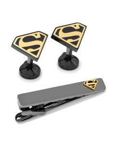 Superman Stainless Steel Cufflinks Tie Clip Gift Set