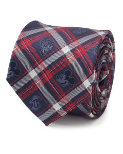 Mickey and Friends Navy Plaid Men's Tie