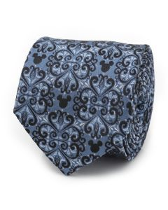 Mickey Mouse Damask Tile Blue Men's Tie