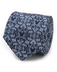 Mickey Mouse Damask Tile Blue Men's Tie