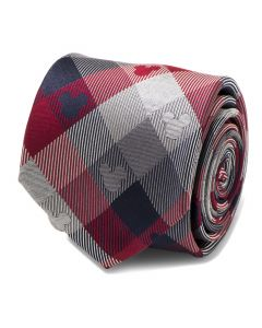 Mickey Mouse Red and Blue Plaid Mens Tie