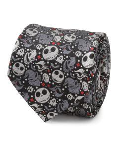 Nightmare Before Christmas Black Grey Pattern Men's Tie