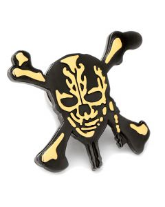 Black and Gold Skull and Crossbones Lapel Pin