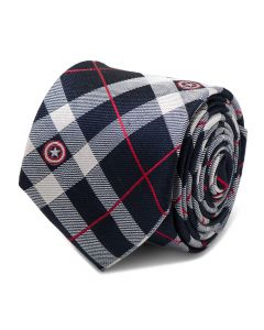 Captain America Blue Plaid Tie