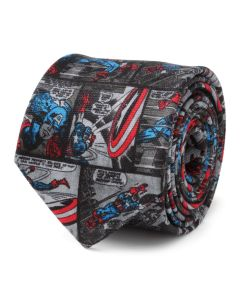 Captain America Comic Grey Men's Tie