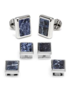 Silver and Sodalite JFK Presidential Stud Set