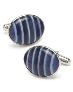Blue Catseye Stripe Stainless Steel Cufflinks