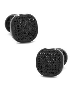 Black Stainless Steel Black Pave Crystal Cufflinks