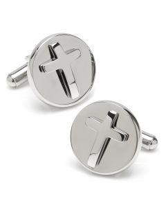 Cross Round Stainless Steel Cufflinks