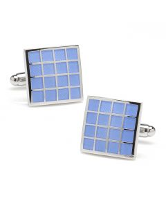 Periwinkle Checker Square  Cufflinks