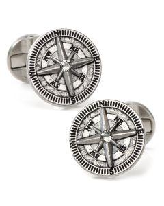 Antique Compass Stainless Steel Cufflinks