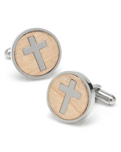 Cross Round Light Wood Stainless Steel Cufflinks