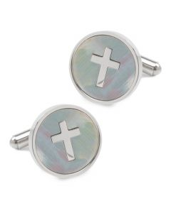 Cross Mother of Pearl Stainless Steel Cufflinks