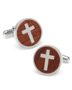 Cross Round Wood Stainless Steel Cufflinks