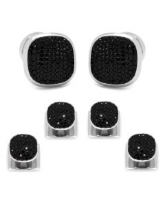 Stainless Steel Black Pave Crystal Stud Set