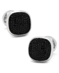 Stainless Steel Black Pave Crystal Cufflinks