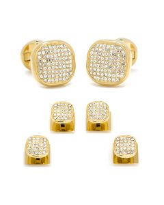 Gold Stainless Steel White Pave Crystal Stud Set