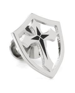 Stainless Steel Cross Shield Lapel Pin