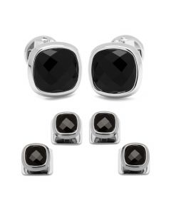 Faceted Onyx Cushion Stainless Steel Stud Set