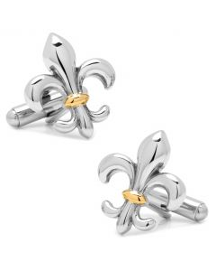 Stainless Steel Two-Tone Fleur De Lis Cufflinks