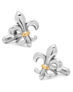 Stainless Steel Two-Tone Fleur De Lis Cufflinks