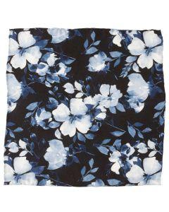Painted Floral Black Pocket Square