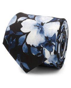 Painted Floral Navy Silk Men's Tie