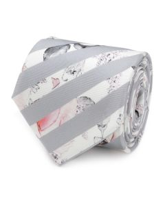 Painted Floral Gray Stripe Silk Men's Tie
