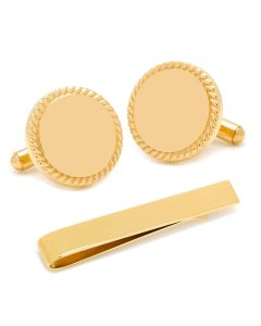 Engravable Gold Plated Rope Border Round Cufflinks and Tie Bar Gift Set