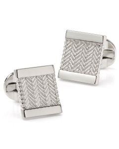 Silver Herringbone Cufflinks