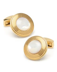 Mother of Pearl Round Gold Stainless Steel Cufflinks