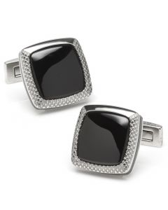 Onyx Cushion Stainless Steel Cufflinks