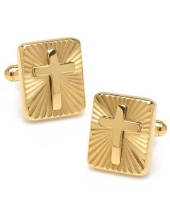 Radiant Cross Gold Stainless Steel Cufflinks