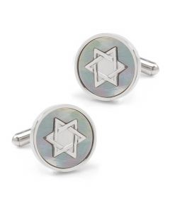 Star of David Mother of Pearl Stainless Steel Cufflinks