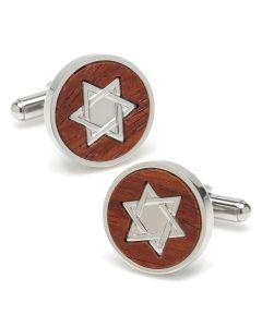 Star of David Round Wood Stainless Steel Cufflinks