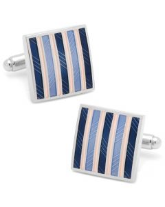 Pink and Navy Striped Square Cufflinks