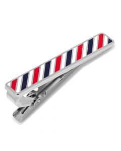 Barber Shop Red, Navy, and White Tie Clip