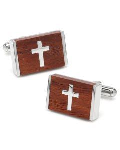 Wood Cross Stainless Steel Cufflinks