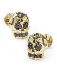 Gold and Black Day of the Dead Skull Cufflinks